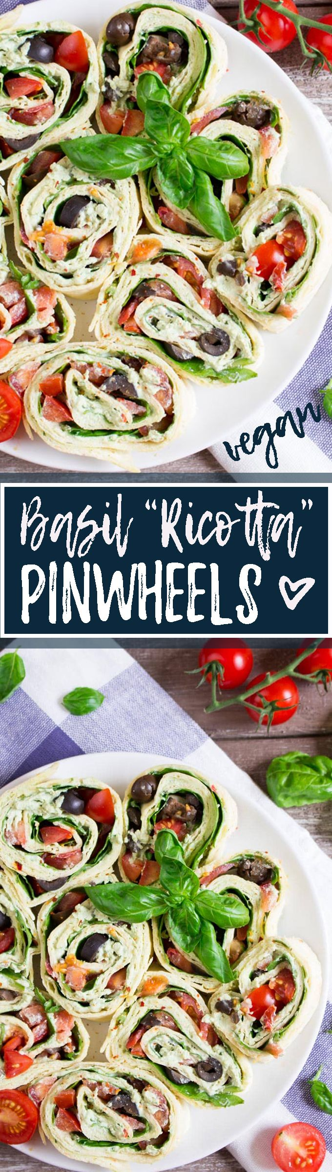 "These vegan pinwheels with basil ""ricotta"" are perfect for a quick and healthy lunch. They're also a real crowd pleaser at parties and family get-togethers! <3 