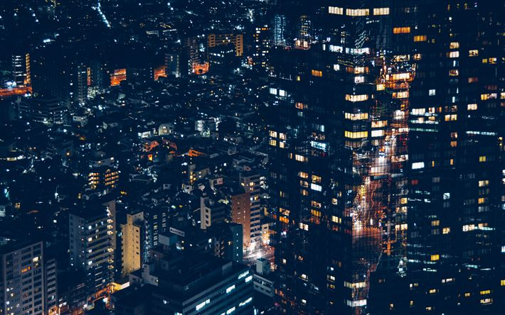 Download wallpapers Minato, 4k, nightscape, modern buildings, Japan, Asia