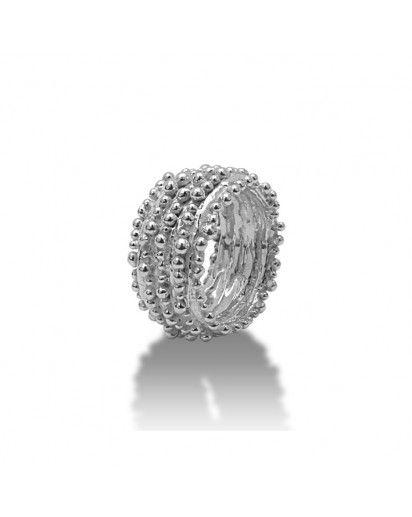 Zilveren ring banden met bolletjes ()