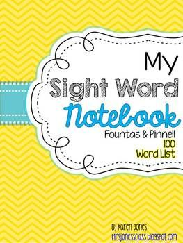 My Sight Word Notebook {Fountas & Pinnell 100 word list} -- I have been using this as homework for many years. It is a great way for kids to practice their sight words at home. Just print and stick the paper inside their notebooks. $