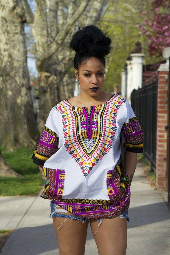 Unisex Dashiki White Pink Coral African Shirt by tribalgroove ~Latest African fashion, Ankara, kitenge, African women dresses, African prints, African men's fashion, Nigerian style, Ghanaian fashion ~DKK