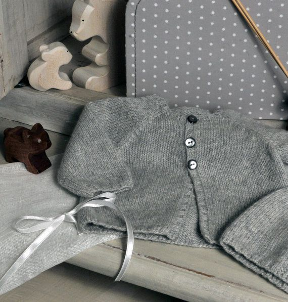 Baby cashmere gray cardigan with white star by fallinlo on Etsy