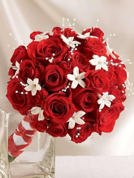 Ramos de novia en rojo: fotos ideas elegantes - Ramo de novia con flores blancas y rojas