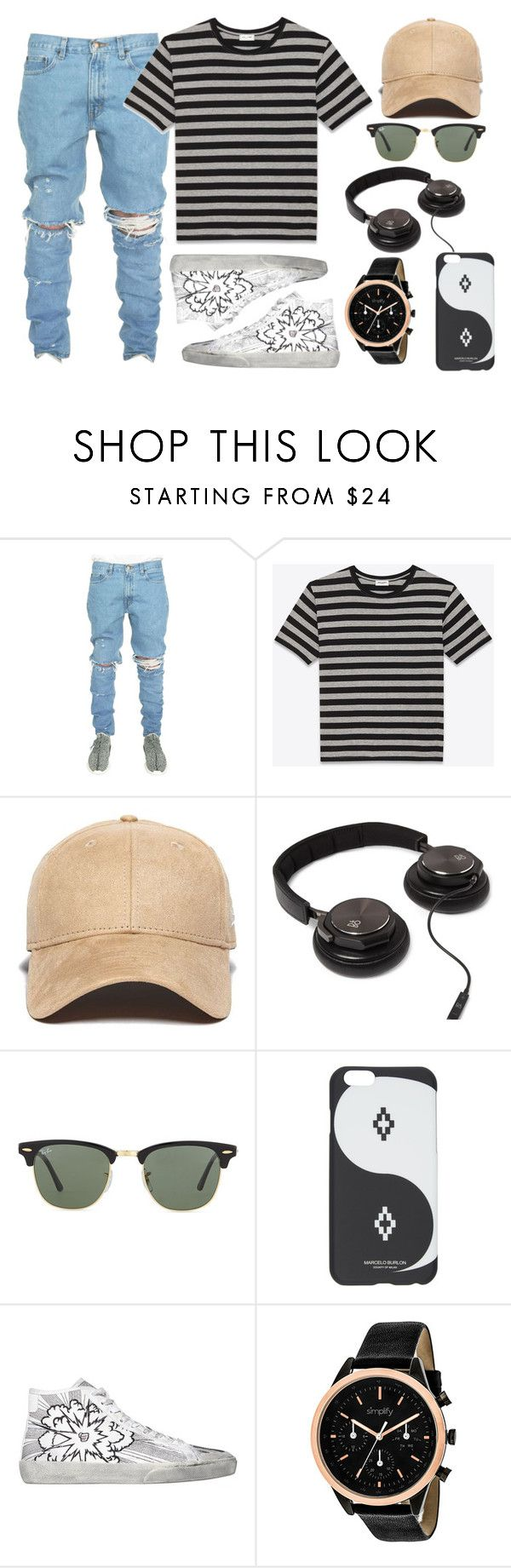 """outfit#86"" by alifia-fae on Polyvore featuring Yves Saint Laurent, New Era, Ray-Ban, County Of Milan, Simplify, men's fashion and menswear"