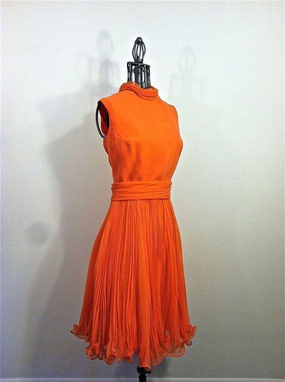 Orange Sherbert Knife Pleated Cocktail Dress by shopNOV on Etsy