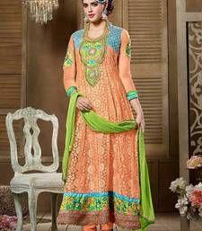 Buy Pitch georgette embroidered semi stitched salwar with dupatta party-wear-salwar-kameez online