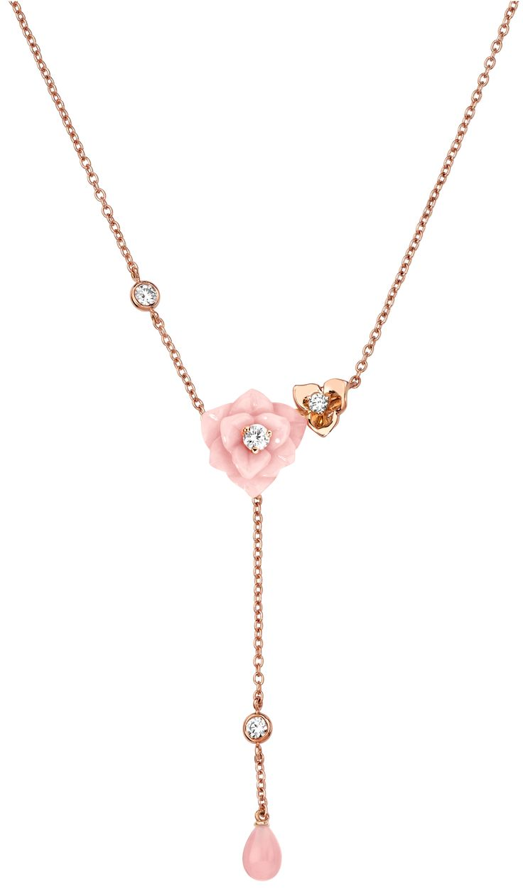 Piaget Rose Necklace In Rose Gold, Diamonds And Opal Chanel Pearl