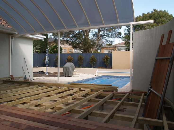 Merbau deck construction, Feature screen rendered and Magnolia 'Lil Gem' planted