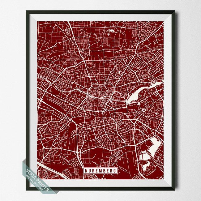 NUREMBERG, GERMANY STREET MAP PRINT by Voca Prints! Modern street map art poster with 42 color choices. Perfect for anyone who loves to travel or is away from home.