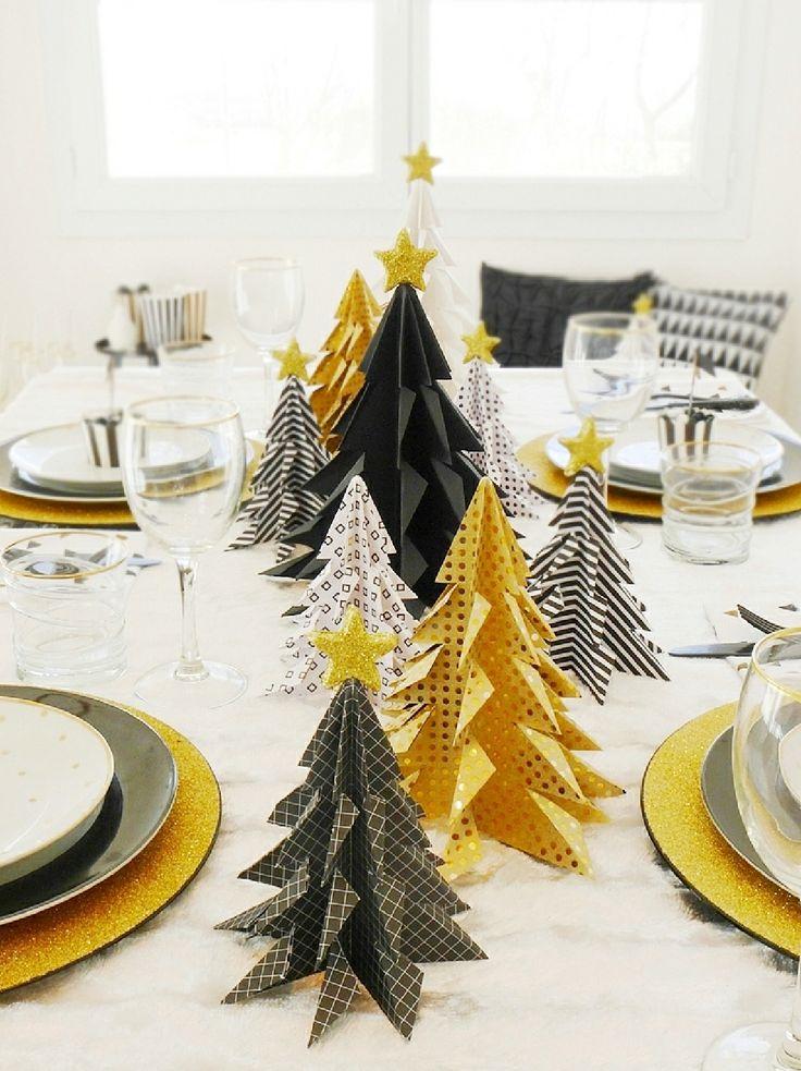 Table Noel Noir, Blanc et Doré