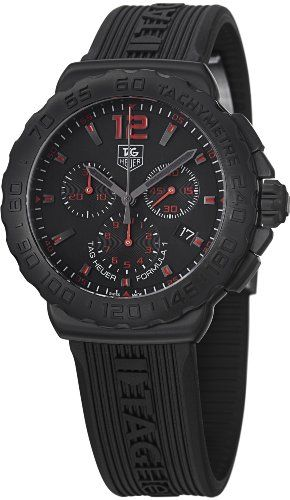 22% Off was $2,000.00, now is $1,550.00! Tag Heuer Formula 1 Chronograph Black Dial Black Rubber Mens Watch CAU111A.FT6024