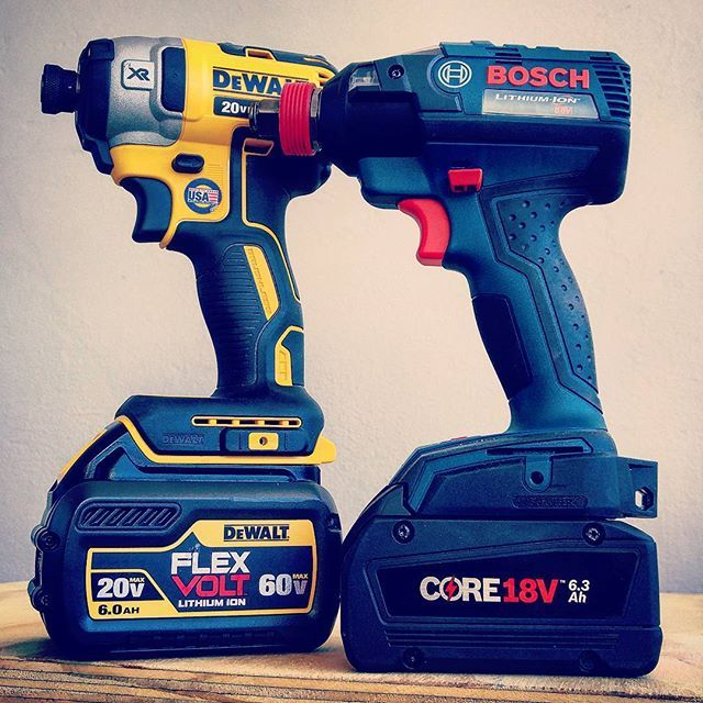 Since Bosch is using the new 20700 cells in their new 6.3ah Core batteries, they are extremely compact! This 6.3ah Core battery is the size of a Milwaukee 5.0 and a Dewalt 5.0. #bosch #boschtools #boschcore #impactdriver #woodworking #batteries #technology #amaze #awesome #small #tough #powertools #cordlessdrill #cordless #instagood #love #like #awesome #dewalt #dewalttough #yellow #flexvolt #cells @boschtoolscanada @boschtoolsna @dewalt_ca @dewalttough