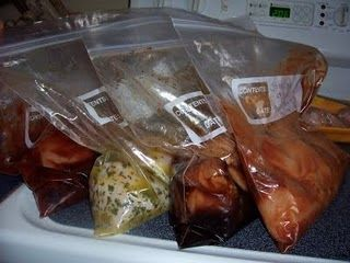 Dump chicken.  Tons of recipes! One trip to Costco for chicken, a handful of plastic bags, ingredients from the fridge and cupboards, and 15 minutes... 7 nights of dinners!