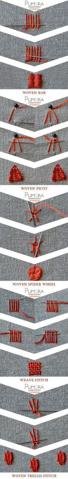 Pumra's embroidery stitch lexicon: weave stitch and variations Más