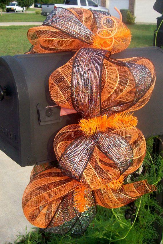 Deco mesh fall mailbox swag....cute idea