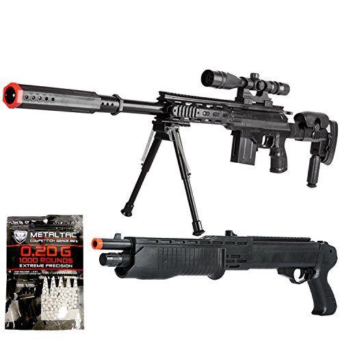 BBTac Airsoft Sniper Gun Package - Powerful Spring Sniper Rifle, Shotgun, 6mm BB Pellets, Great Starter Pack #BBTac #Airsoft #Sniper #Package #Powerful #Spring #Rifle, #Shotgun, #Pellets, #Great #Starter #Pack
