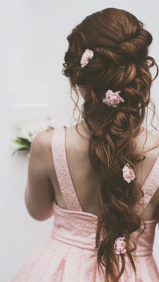 This would make the perfect mermaid hairstyle for the holidays.  Gallery: Ulyana Aster long wedding hairstyle with flowers - Deer Pearl Flowers