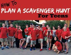 Scavenger Hunt - lots of great (funny!) ideas for group picture poses, questions, etc.