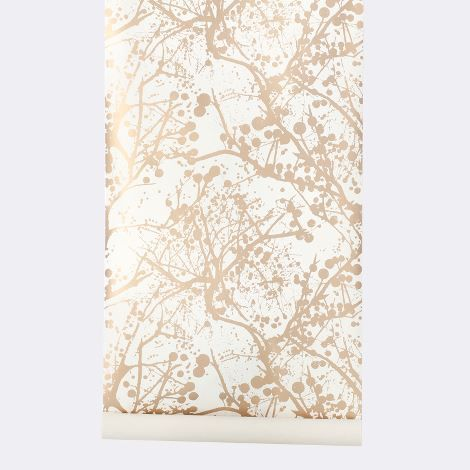 Wilderness Wallpaper. White and gold. Paired with deep turquoise walls?