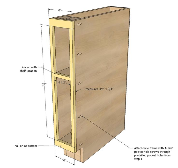 "Ana White | Build a 6"" Filler Tray Base Cabinet - Momplex Vanilla Kitchen 