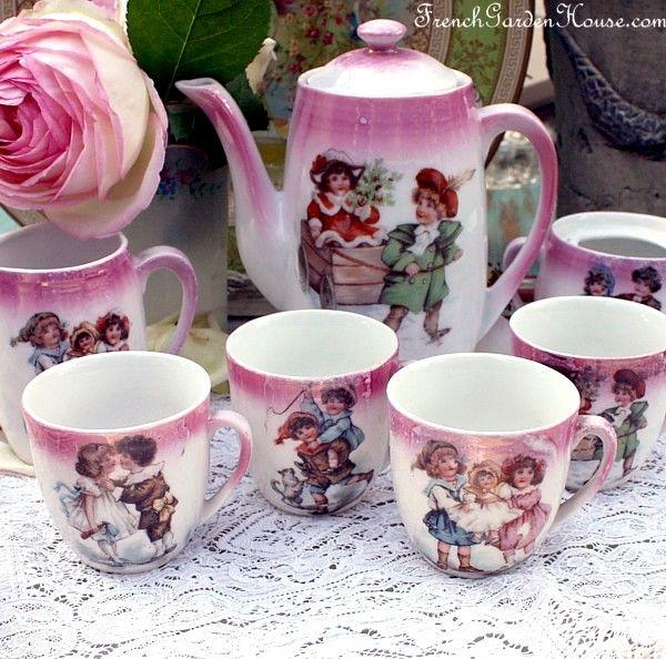 missingsisterstill:Antique 19th Century Pink Lusterware Child's Porcelain Tea Set