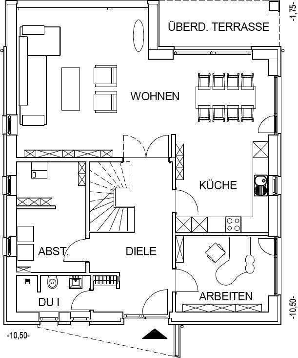 moderne Stadtvilla Grundriss mit 99,39 m² Wohnfläche im Erdgeschoss
