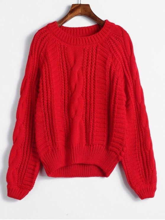 87589c8921 Raglan Sleeve Cable Knit Chunky Sweater - RED ONE SIZE  ZAFUL  Sweater  Knit  Buy 2 Get 15% Off Buy 3 Get 30% Off
