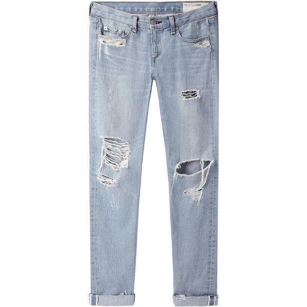 Rag & Bone Jean Boyfriend Jean (19,745 INR) ❤ liked on Polyvore featuring jeans, pants, bottoms, trousers, relaxed fit jeans, boyfriend jeans, distressed jeans, destroyed jeans and distressed boyfriend jeans