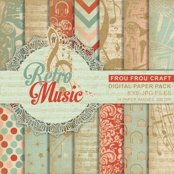 Retro Music Digital Paper Pack Instant Download by froufroucraft