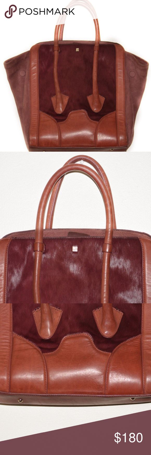 Pour La Victoire Burgundy Butler Tote Bag This is a Pour La Victoire Burgundy Butler Tote Bag. This item is gently used, has a very small scuff on part of the leather handle  Materials: Leather and Pony Hair  Please let me know if you have any questions! Pour la Victoire Bags Totes
