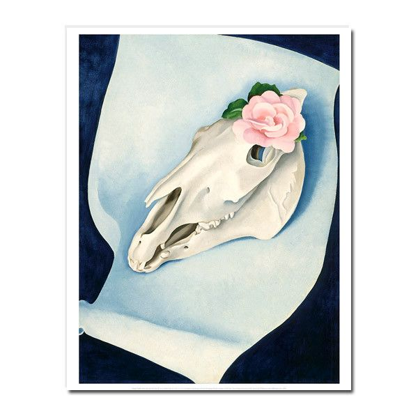Georgia O'Keeffe: Horse's Skull with Pink Rose 22 x 28 in. Print