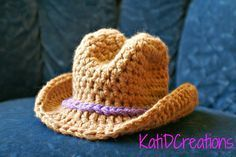 Wide Brim Cowboy Hat Crochet Pattern – FREE Pattern!!! | KatiDCreations newborn size only                                                                                                                                                     More