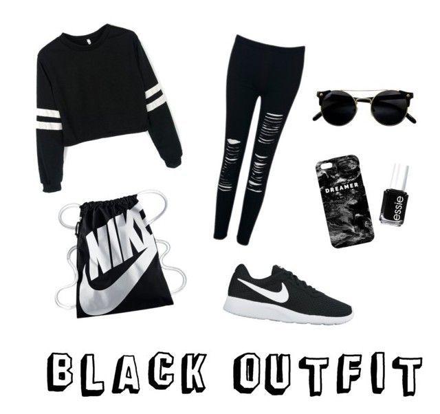 BLACK OUTFIT | CHILL OUTFIT IDEA by peipeihelenaaa on Polyvore featuring polyvore, fashion, style, NIKE, Mr. Gugu & Miss Go, Essie and clothing