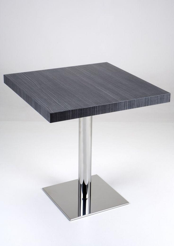 Table 195. Table with polished steel base and laminated square surface. Tavolo 195. Tavolo con base in acciaio lucido e piano quadrato in laminato.