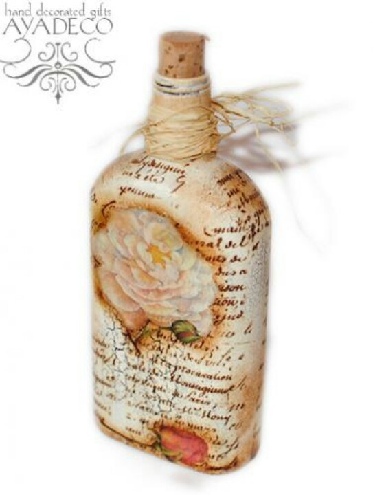 botellas decoradas estilo vintage decoupage pinterest