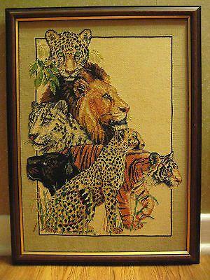 Framed Completed Cross Stitch Wild Cat World Cheetah Tiger Lion Jaguar Wild Cats