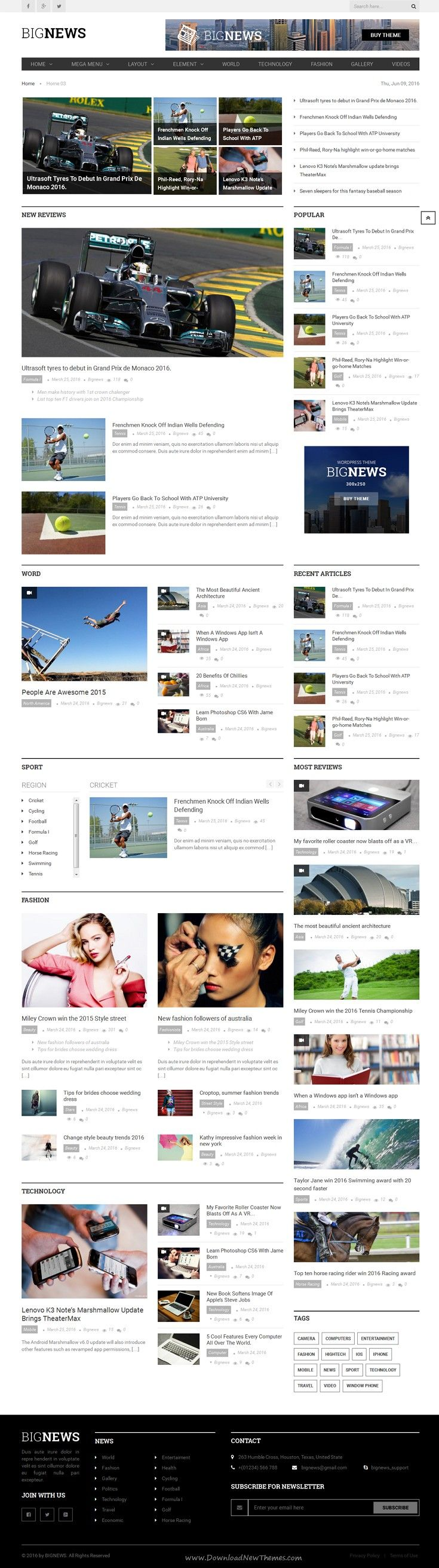BigNews is a modern WordPress #Template especially for Newspaper & #Magazine online News #portal website. Download Now!