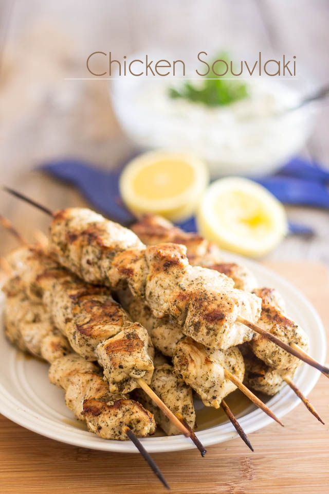 "Chicken Souvlaki | thehealthyfoodie.com...""These authentic Chicken Souvlaki are so stupid easy to make and so crazy good, you'll probably want to eat nothing but that all summer!"""