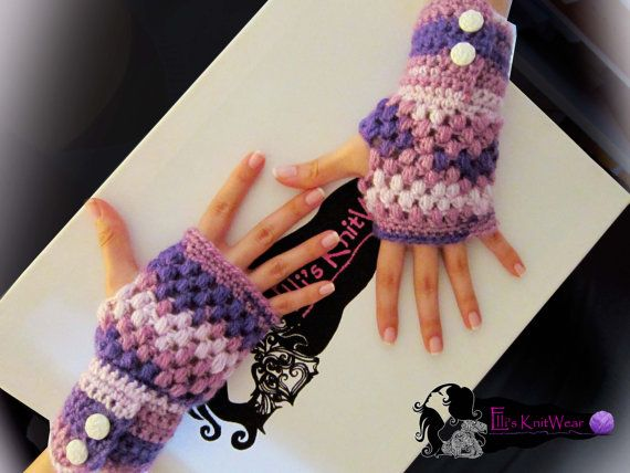 Fingerless purple gloves by EllisKnitwearShop on Etsy