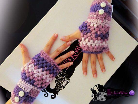 Fingerless purple gloves by EllisKnitwearShop on Etsy