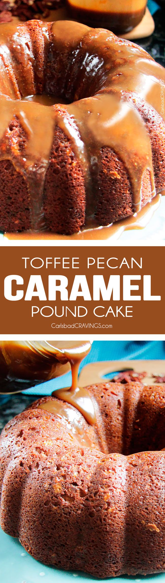 CROWD PLEASING CAKE!! Toffee Pecan Caramel Pound Cake - Moist cake bursting with sweet toffee bits, crunchy pecans and rich creamy caramel in every bite! AMAZING