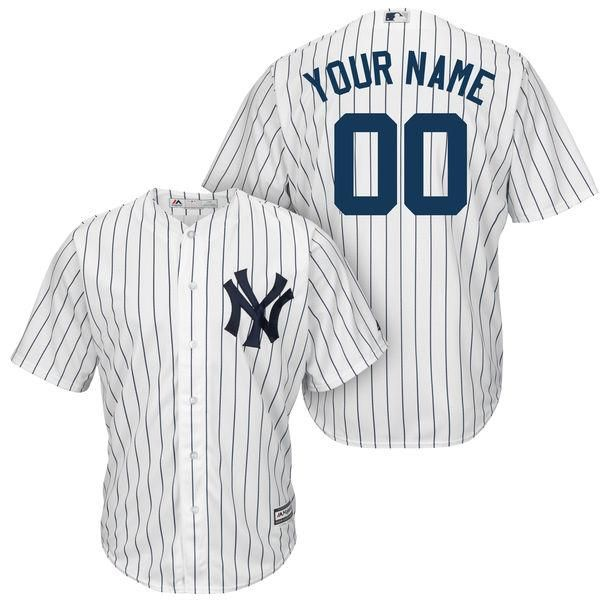 Majestic New York Yankees White/Navy Cool Base Custom Jersey