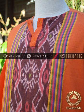 Baju Koko Tenun Ikat Warna Jingga | Orange Ikat http://thebatik.co.id/kain-batik-bahan/