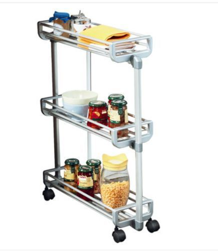 Kitchen Cart Trolley  Stainless Steel With Exterior Shelves