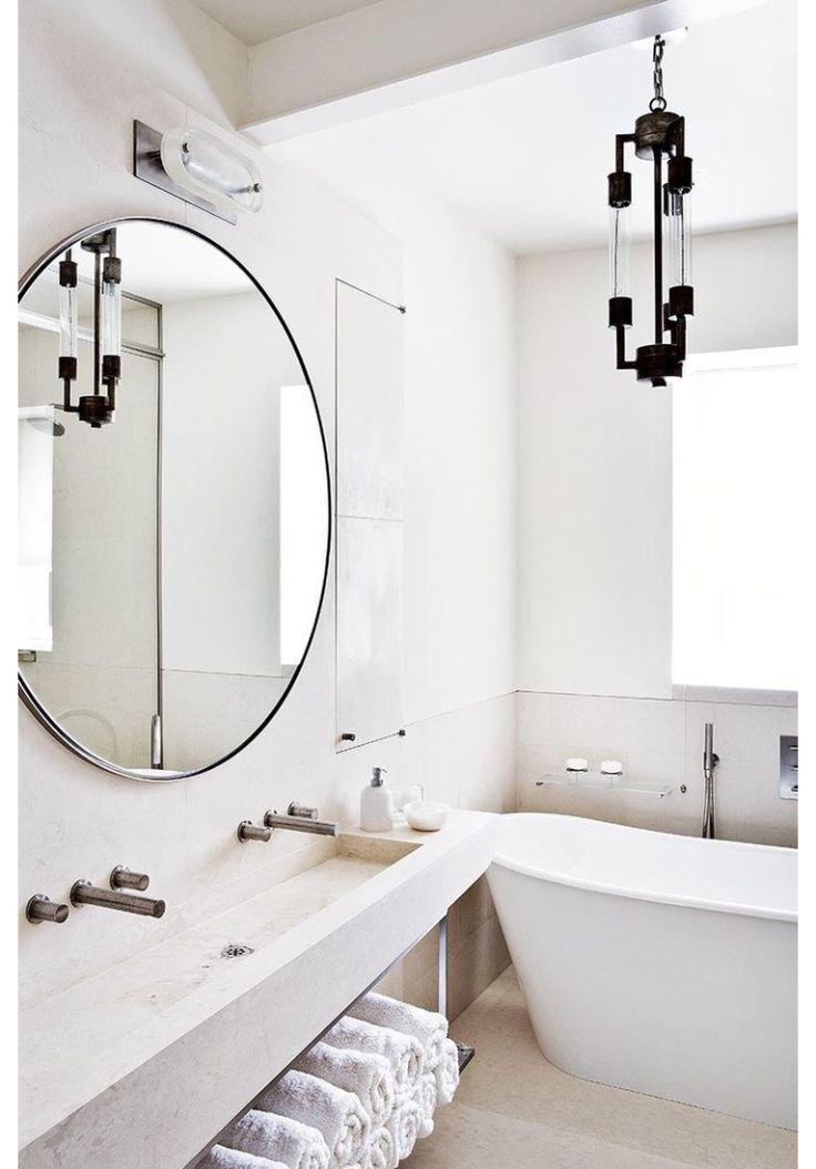 25 beste idee n over ronde spiegels op pinterest ingangs plank entree en hal spiegel for Spiegel wc deco