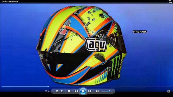 Valentino Rossi is famous for his many fabulously designed helmets but the one that seems to be drawing a lot of attention is the crash helmet he wore at the Aragon GP.