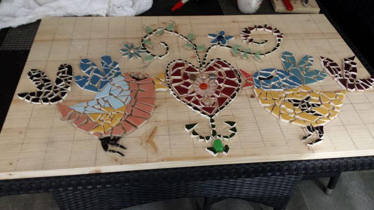 eigen creatie voor op naaimachine tafel.