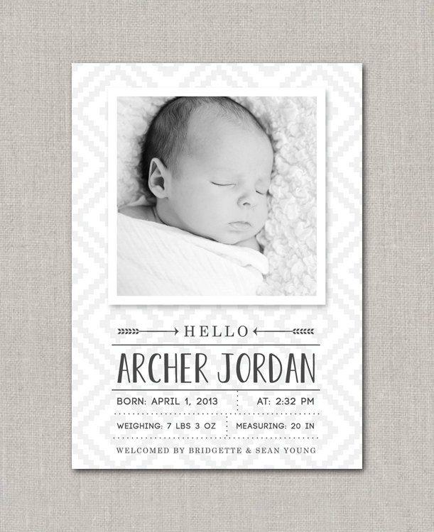 Baby Boy Birth Announcement - Archer. $15.00, via Etsy.