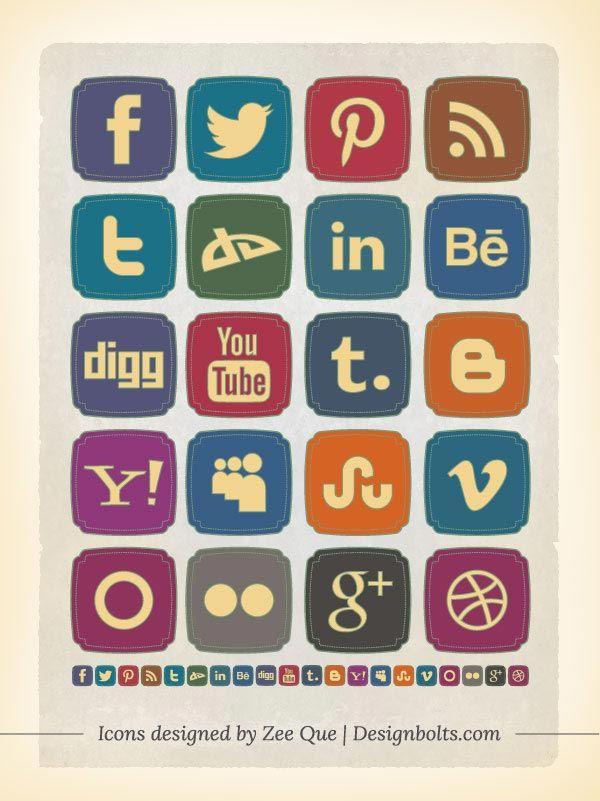 20 #Free #Retro Style #Social #Media #Icons Set, #deviantART, #Dribbble, #Facebook, #GooglePlus, #Graphic #Design, #Icon, #Linkedin, #Pinterest, #PNG, #Resource, #RSS, #Twitter, #YouTube
