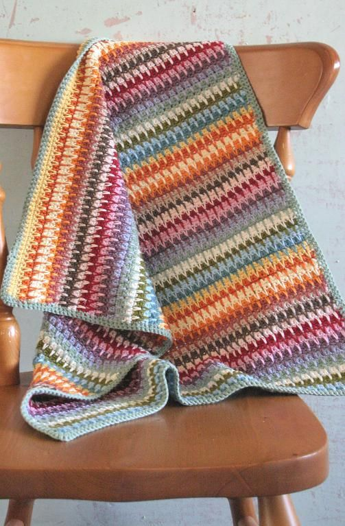 Inspiration :: Retro Baby Blanket, pattern $4.99. Pretty drop stitch & color selection. NOTE: A very good *free* pattern that gives instruction on the drop stitch is by Wolf Crochet at this link ~ https://wolfcrochet.wordpress.com/2012/02/ YouTube drop stitch instruction video from Annie's Crochet ~ https://www.youtube.com/watch?v=g9rONVNjhpE . . . . ღTrish W ~ http://www.pinterest.com/trishw/ . . . . #crochet #afghan #throw